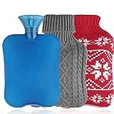 Borsa dell'acqua calda con coperchio, Borsa dell'acqua calda JTENG con 2 pezzi di fodere in maglia, Borsa dell'acqua calda sicura e calda, Veloce sollievo dal dolore e comfort - (grigio e rosso)