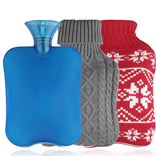 Jteng Warmwaterkruik met overtrek, 2 stuks gebreide afdekkingen, veilige en warme warmwaterfles, snelle pijnverlichting…