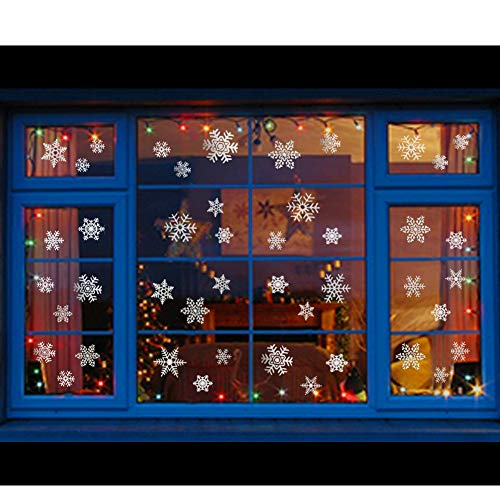 Glitter Snowflake Window Clings 114 pcs Reusable Sparkly Static Window Clings for Christmas Holiday Winter Window Decorations Multi-Size (Silver, 114 pcs)