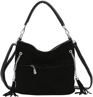 LIMING Retro Fringed Tote Bag Fashion Wild Scrub PU Leather Bucket Bag Commuter Handbag (Color : Red, Size : 27 * 13 * 22c...