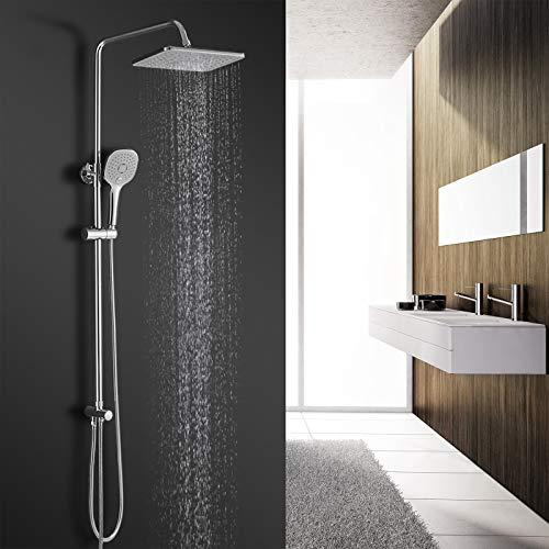 BONADE Duschsystem ohne Armatur Regendusche Duschsäule Duschset mit 3-Funktionen Handbrause ABS Kopfbrause Höhenverstellbare Duschstange aus Edelstahl Duscharmatur mit Schlauch 150 cm für Bad