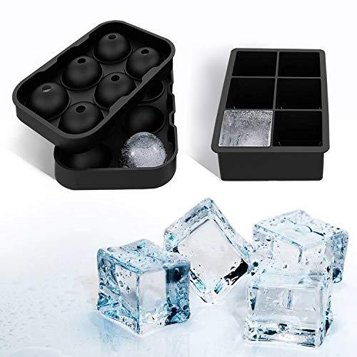 Yisscen Silikon Eiswürfelform, Eiskugelform, Ice Cube Tray Würfel, 1 Quadratische Eiswürfelform und 1 Eiskugelform für, BPA frei Wiederverwendbar für Bier Cocktails Whisky(schwarz)