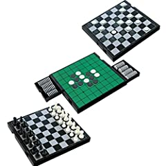 "Board Measures 10X10 Inches and Folds up to 10X5"" Inches Includes: Double Sided Foldable Board, 64 Black & White Playing Pieces for Checkers and Reversi, 32 Chess Pieces Drawers Built into the Board to Store Playing Pieces, Perfect All in one Game! P..."