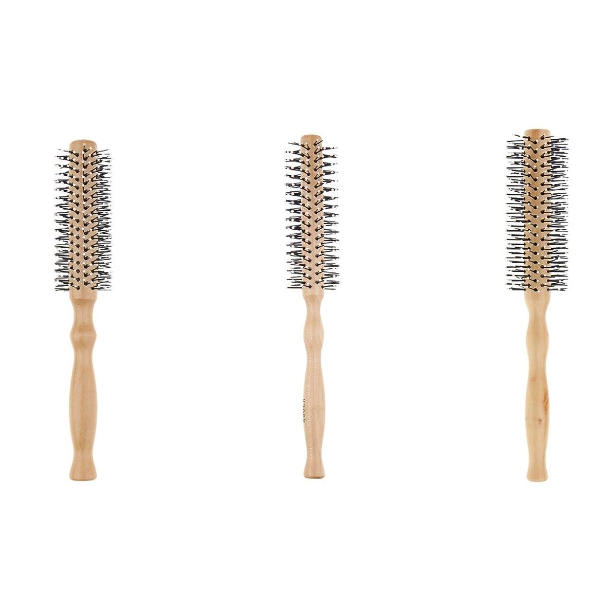 ストラップ夏ハドルP Prettyia 3本 ヘアブラシ ロールブラシ ヘアスタイリング 巻き髪 木製 波状 カール