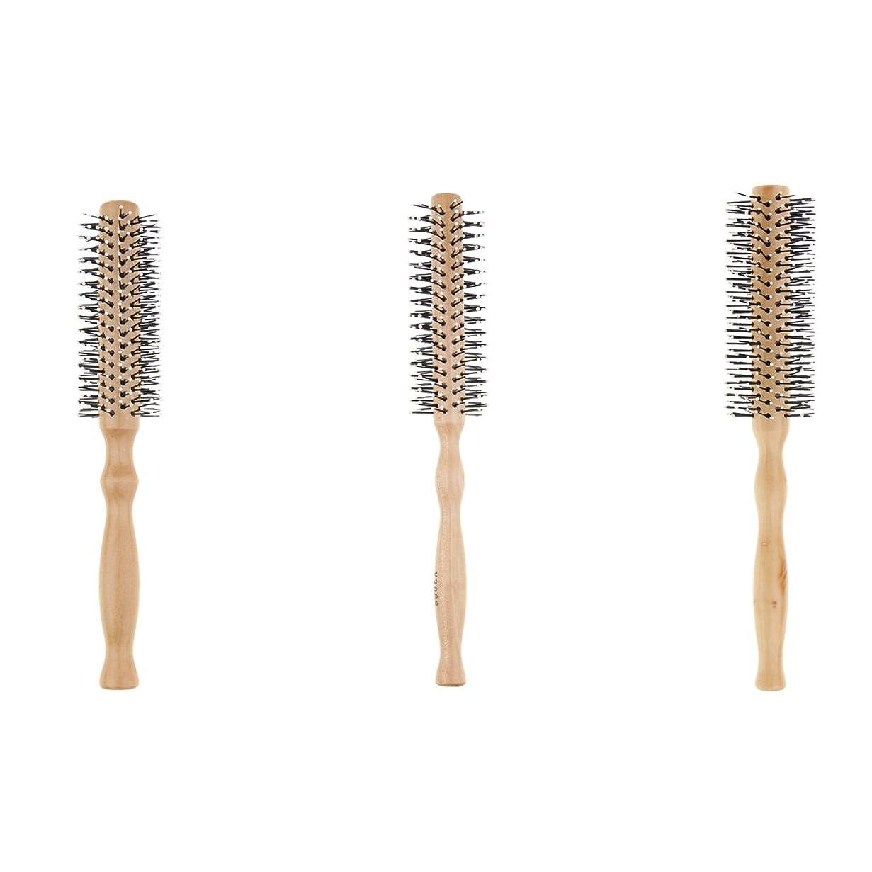 歩く経済さようならP Prettyia 3本 ヘアブラシ ロールブラシ ヘアスタイリング 巻き髪 木製 波状 カール
