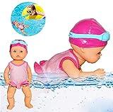 Schwimmpuppe,Born Baby Badepuppe Wasserbabypuppe Elektrisches Schwimmspielzeug Wasserdichtes...