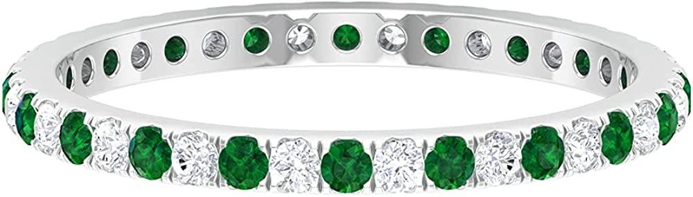 1/2 CT Created Emerald and Diamond Eternity Stackable Ring (AAAA Quality),14K White Gold,Diamond,Size:US 6.50