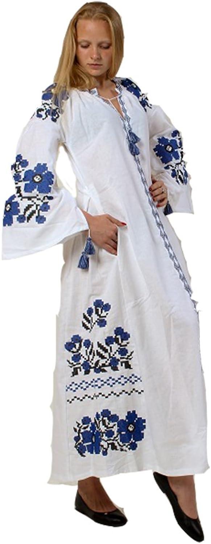 Boho Embroidered Maxi Dress Traditional Ukrainian Style, white