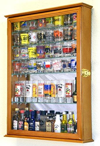 Large Mirror Backed and 7 Glass Adjustable Shelves Shot Glass Glasses Shooter Display Case Holder Cabinet Shotglass , Oak