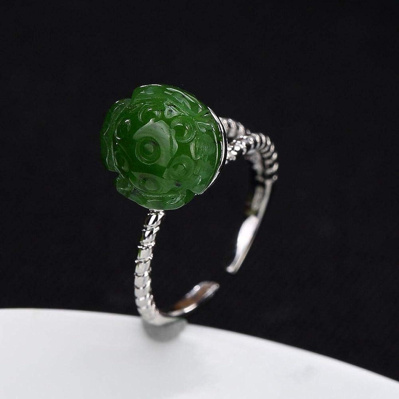 DTZH Rings Jewellery Ring S925 Sterling Silver Retro Inlaid Jasper Lady Lavish Atmosphere Lotus Ring Send Girlfriend Birthday Gift to Dear People
