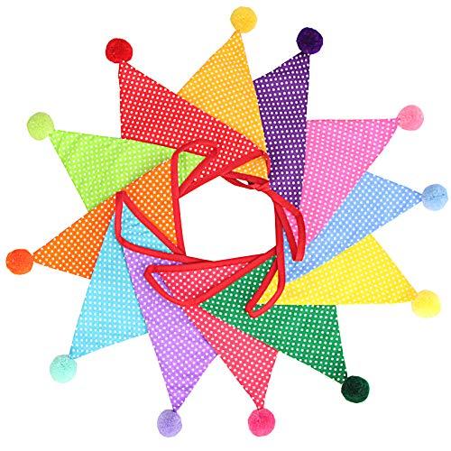 G2PLUS 4M Wimpelkette Kinderzimmer Mehrfarbig Stoff Wimpel Girlande mit 12 STK Farbenfroh Wimpeln,17x19CM Bunting Wimpelkette für Kinderzimmer Geburtstag Party