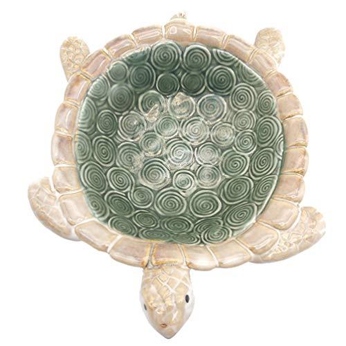 HEMOTON Tortuga - Plato de joyería de tortugas verde de cerámica para decoración de centros de mesa