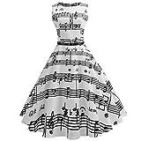 TEBAISE Damen 1950er Elegant Vintage Ärmellos Cocktailkleid Rockabilly Retro Schwingen Kleid...