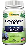 Black Cumin Seed Oil 500mg - 180 Capsules - Cold Pressed Black Seed Oil (Nigella Sativa) Supplement Pills to Support Skin & Hair Health - Virgin & First Pressing - Non-GMO