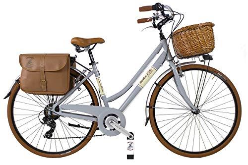 Canellini Dolce Vita by Bicicletta Via Veneto Bici Citybike CTB Donna Vintage Retro Alluminio Donna (50, Grigio)