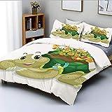Juego de funda nórdica, divertida tortuga floral que habla con colibríes coloridos, tortuga Ninja, decoración del hogar, juego de cama decorativo de 3 piezas con 2 fundas de almohada, multicolor, el m
