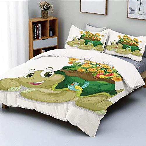 Juego de funda nórdica, divertido tortuga floral hablando con coloridos colibríes Tortuga Ninja Decoración del hogar Decorativo juego de cama de 3 piezas con 2 fundas de almohada, Multi, el mejor rega
