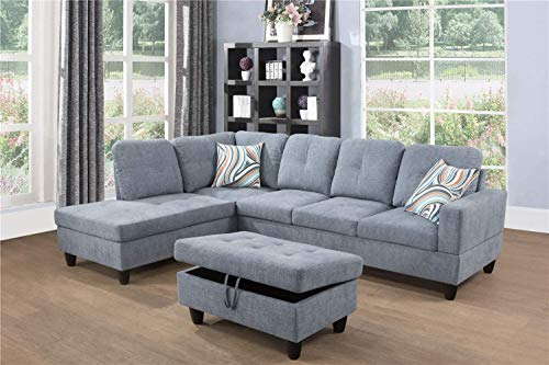 Ainehome Linen 3 Piece Sectional Sofa Couch Set, L-Shaped Modern Sofa with Chaise Storage Ottoman and Pillows for Living Room Furniture, Left Hand Facing Sectional Sofa Set Light Grey