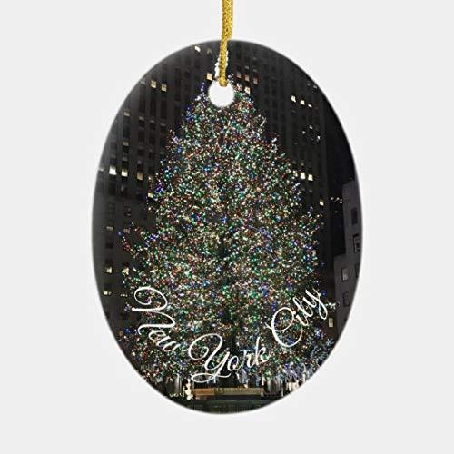 Yilooom Ceramic Ornament for Chirstmas Tree Decoration, New York City Rockefeller Center Christmas NYC Ceramic Keepsake, Made in USA