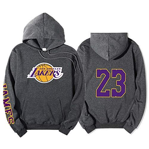 # 23 Lakers James Baloncesto con Capucha Camiseta con Capucha Camisa más Fleece Sudadera de Manga Larga Sudadera Pullador Abrigo Dark Gray-S