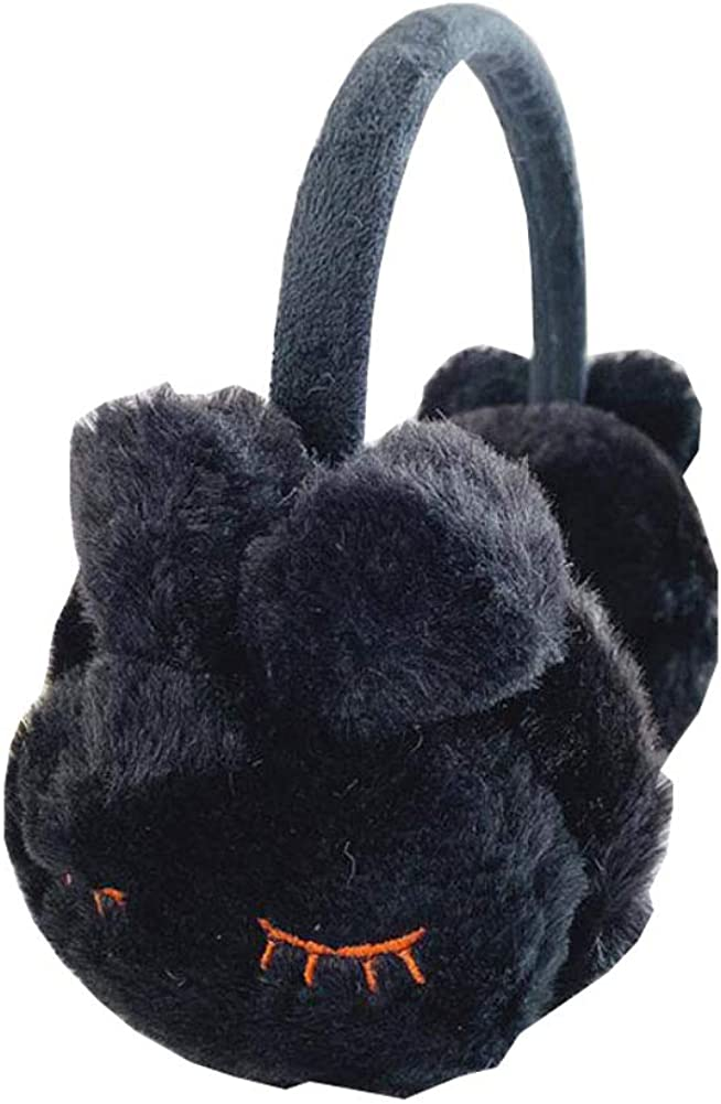 Lovely Kids Warm Winter Earmuffs Winter Ear Warmers Covers Soft Earmuffs for Cold Weather Cute Rabbit, Black