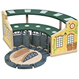 Wooden Train Round House with Turntable for Kids Ages 3 and Up., Vibrant Colors, Detailed, with Rotating Turntable. Houses 5 Engines or Cars. Universally Compatible with Major Brands