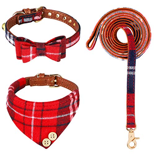 aingycy 3 PCS Bow Tie Dog Collar and Leash Set Classic Plaid Adjustable Dogs Bandana and Collars with Bell for Puppy Cats