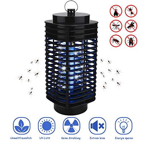 FEALING Insektenvernichter, Elektrischer Insektenvernichter UV LED Mückenvernichter Insektenfalle Mückenlampe Mückenschut Fluginsektenvernichter für Innen und Außeneinsatz (Schwarz) (W1)