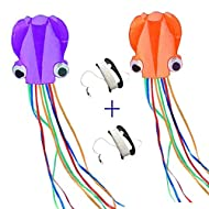 Mayco Bell Octopus Portable Kite Nylon & Polyester Material - Perfect Toy for Kids and Children Outdoor Games Activities - Fold-able Large 28 x 157 Inches   Extra 328 Feet of Line (Orange and Purple)
