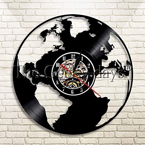 UIOLK Reloj de Pared con Registro de Vinilo con Silueta de Mapa del Mundo Alrededor del Mundo, Reloj de Pared Creativo para decoración del hogar, Reloj de Pared Creativo
