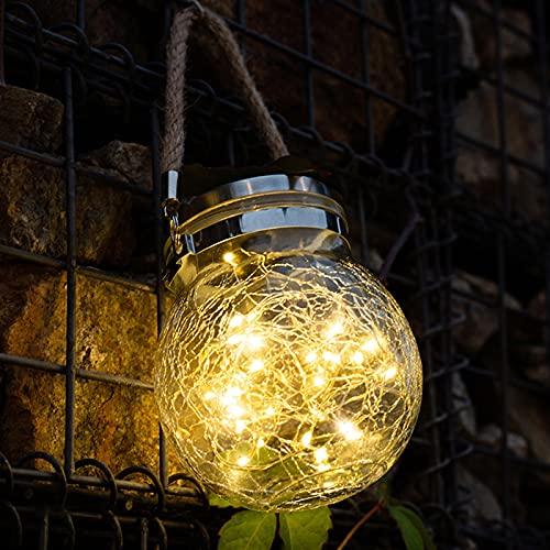 JZDHAOANHE Lámpara De Pared, Pequeña Pelota de suspensión de Vidrio Solar Estilo Tiffany, Luz Colgante De Vidrio Agrietado, decoración de jardín en el balcón o en la terraza