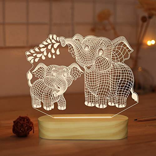Lámpara de elefante 3D, luz de noche de ilusión LED USB colores cálidos Base de lámpara de madera para niños Regalos de vacaciones para bebés (elefante)