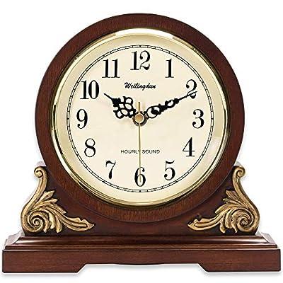 "TXL Mantel Clock 8.3"" Silent Decorative Wood Desk Clock Battery Operated, Dark Wooden Design for Living Room Office Kitchen Shelf & Home Décor Gift, T10392"
