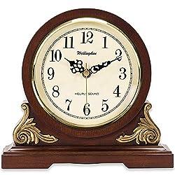TXL Mantel Clock 8.3 Silent Decorative Wood Desk Clock Battery Operated, Dark Wooden Design for Living Room Office Kitchen Shelf & Home Décor Gift, T10392