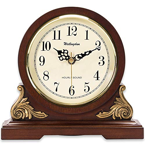 TXL Mantel Clock 8.3' Silent Decorative Wood Desk Clock Battery Operated, Dark Wooden Design for Living Room Office Kitchen Shelf & Home Décor Gift, T10392