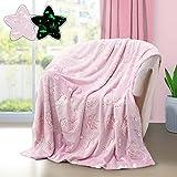Manta luminosa que brilla en la oscuridad, manta para niños, manta suave de franela y mantas para cama, sofá, regalo para niños y niñas, 50 x 60 pulgadas