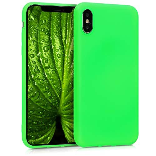 kwmobile Cover Compatibile con Apple iPhone X - Custodia in Silicone TPU - Backcover Protezione Posteriore- Verde Fluorescente