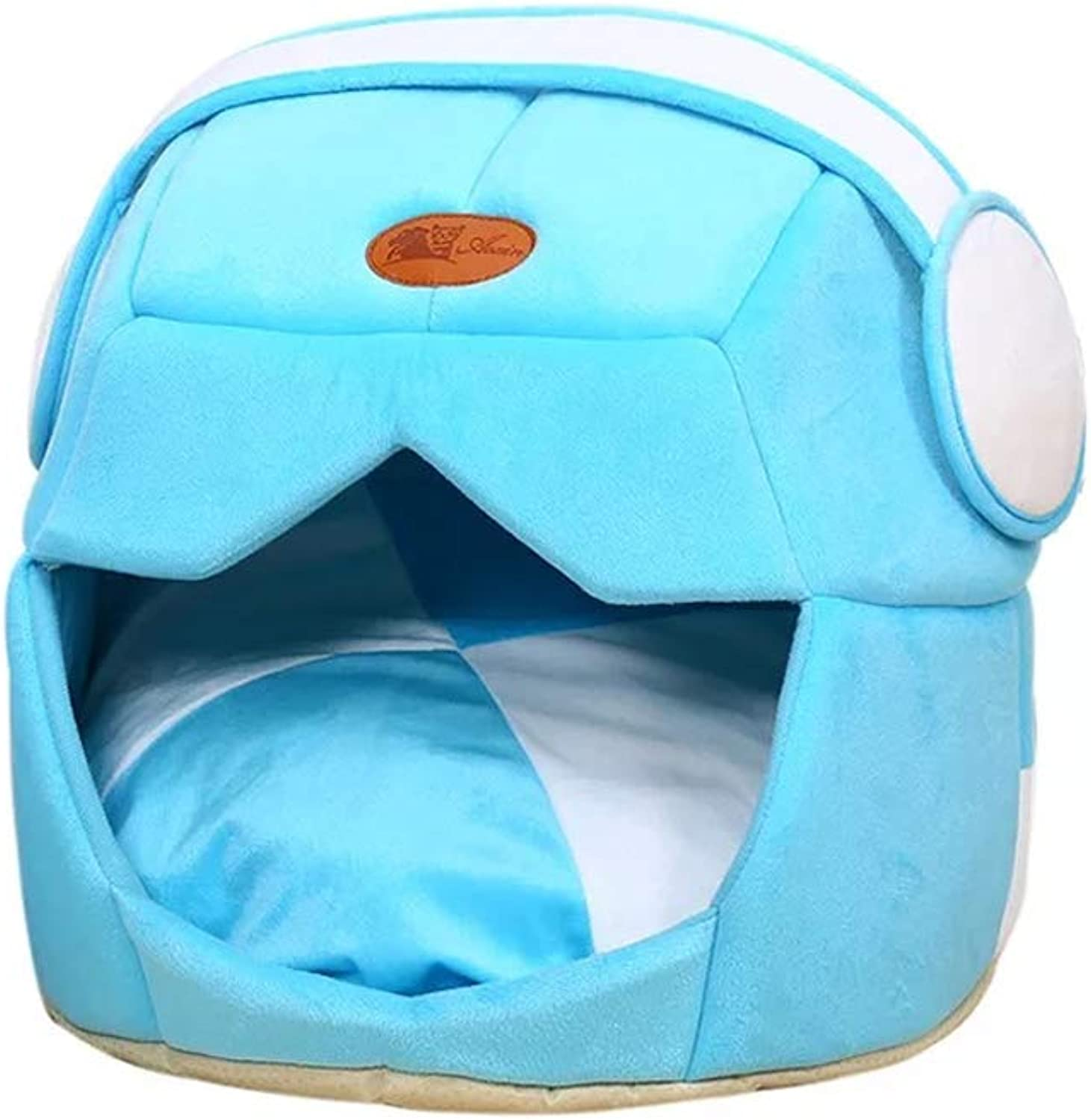 Cat Bed, Semi-Enclosed Small Dog Bed Four Seasons Available Warm Dog House Yurt, Multi-Size (color   bluee, Size   S)