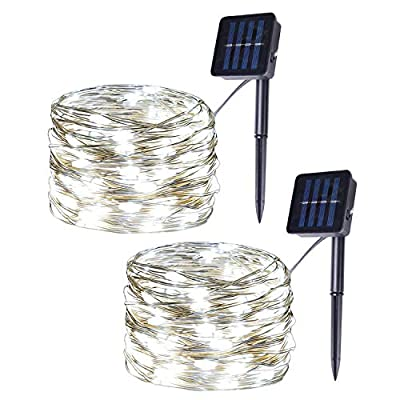 Milky Way Ave 2 Pack DIY Flexible Solar Copper Wire String Lights, 100LED White Fairy Lights, 8 Modes Christmas Lights for Indoor, Outdoor, Room, Party, Garden Decor
