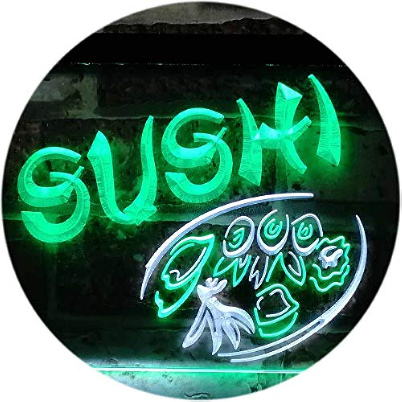 ADVPRO Sushi Japanese Food Restaurant Dual Farbe LED Barlicht Neonlicht Lichtwerbung Neon Sign Weiß & Grün 400mm x 300mm st6s43-s0008-wg