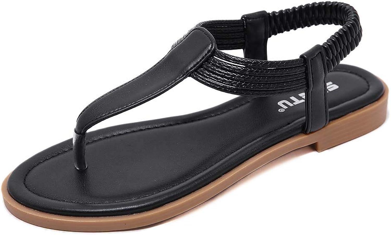 Women's Braided Strap Thong Flat Bohemian Slip On Flip Flops shoes T-Strap Casual Sandals,Black,35