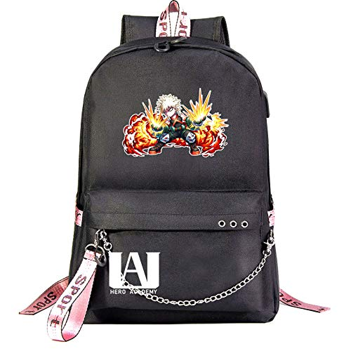 My Hero Academia Travel Laptop Backpack Large Computer Backpack Stylish College Backpack with USB Charging Port Pockets Waterproof Rucksack Daypack for School/Work/Men/Women