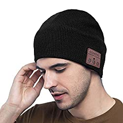 MEckily Bluetooth Beanie Men Gifts, Bluetooth 5.0 Wireless Beanie with Detachable Built-in Microphone for Hands Free Call, Skiing, Running, Christmas Gifts