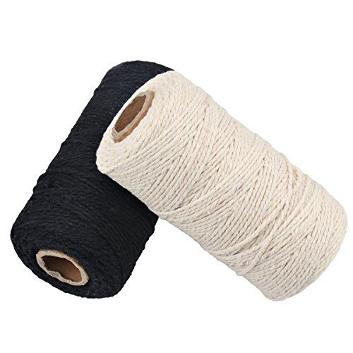 656 Füße Baumwolle Bäcker Schnur Spule 10-lagig Crafts Zwirngarn für DIY Basteln und Geschenkverpackungen (Schwarz+Weiß)