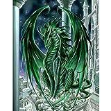 MXJSUA DIY 5D Diamond Painting Full Round Drill Kit Rhinestone Picture Art Craft Home Wall Decor 12x16In Green Dragon