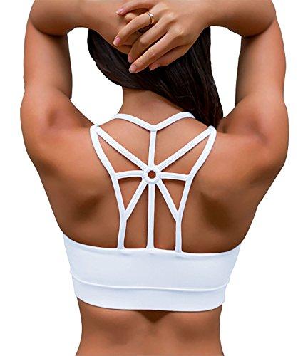 YIANNA Women's Padded Sports Bra Cross Back High Impact Wirefree Strappy Workout Activewear Running Yoga Bra,YA-BRA139-White-L
