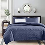 Madison Park MP13-4972 Quebec 2 PC Coverlet Double Sided Classic Bohemian Design. Cottage Style Décor Cozy Quilt Hypoallergenic All Season Bedding-Set with Matching Shams, Twin/Twin XL, Navy
