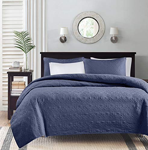 Madison Park Quebec Dusty Pale Navy 3-Piece Quilted King Coverlet Set—For King or Cal King Bed –Ideal For Warm Climate Room Décor or Add-on For Extra Warmth
