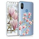 kwmobile Xiaomi Mi 6X / Mi A2 Hülle - Handyhülle für Xiaomi Mi 6X / Mi A2 - Handy Case in Magnolien Design Rosa Weiß Transparent
