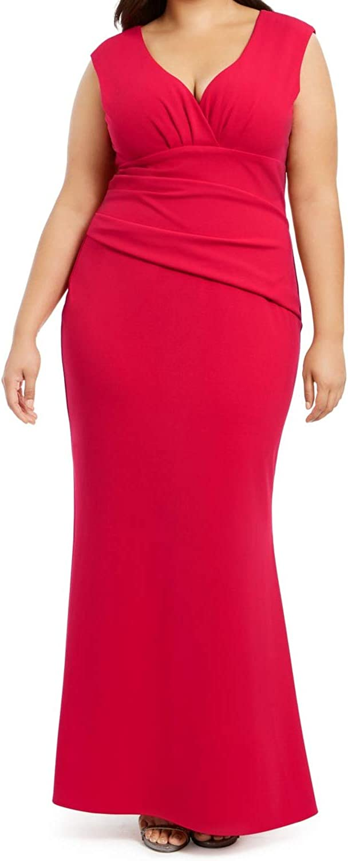 Betsy & Adam Womens Plus Ruched Surplice Evening Dress